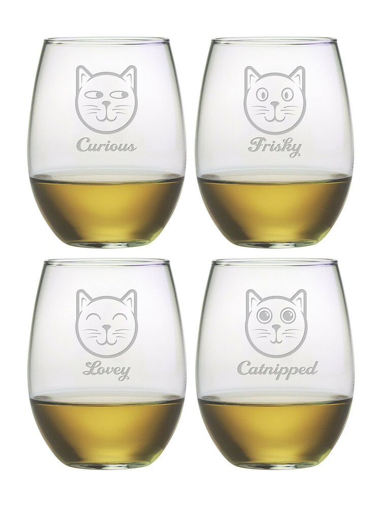 stemless wine glasses feline faces set  4 hand etched gifts cat lovers gifts fun
