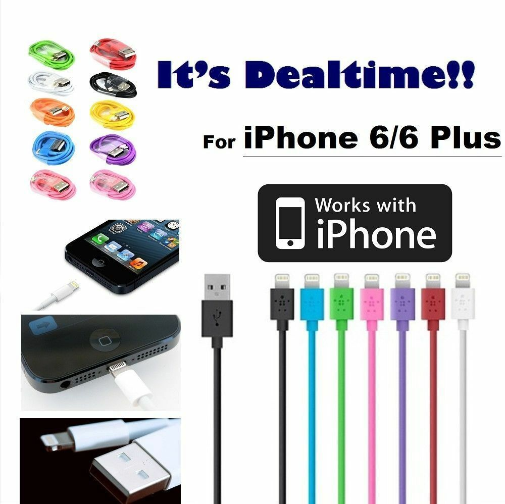 for apple iphone 6 6 plus usb lightning cable charger data sync iphone 5 5s se ebay. Black Bedroom Furniture Sets. Home Design Ideas