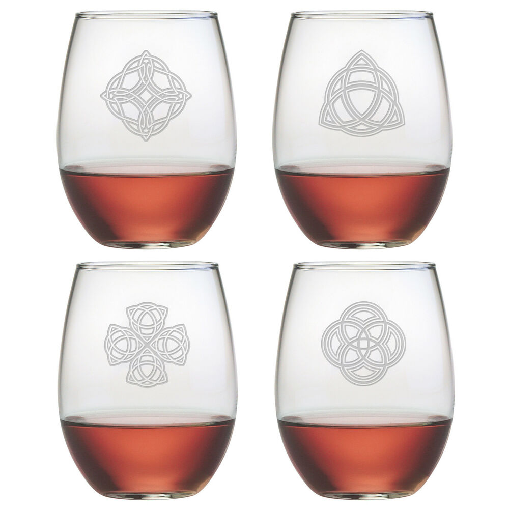 Stemless wine glasses celtic knots set 4 hand etched gifts irish unique gifts ebay - Stemless wine goblets ...