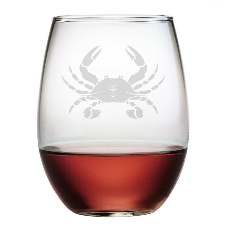 Stemless Wine Glasses Crab Design Set 4 Hand Etched Gifts