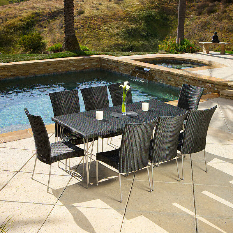 outdoor patio furniture modern design 9pcs black wicker dining set