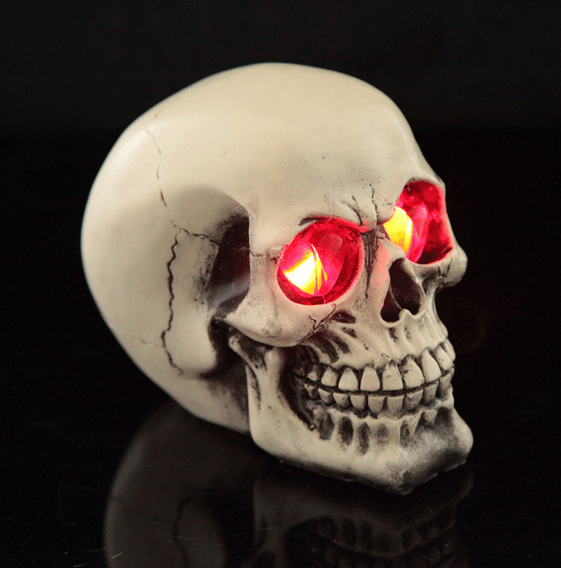 Led Light Demon Skull Ghost Evil Skeleton Head Resin