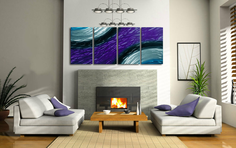Abstract metal wall art contemporary modern decor purple for Ambiance decoration