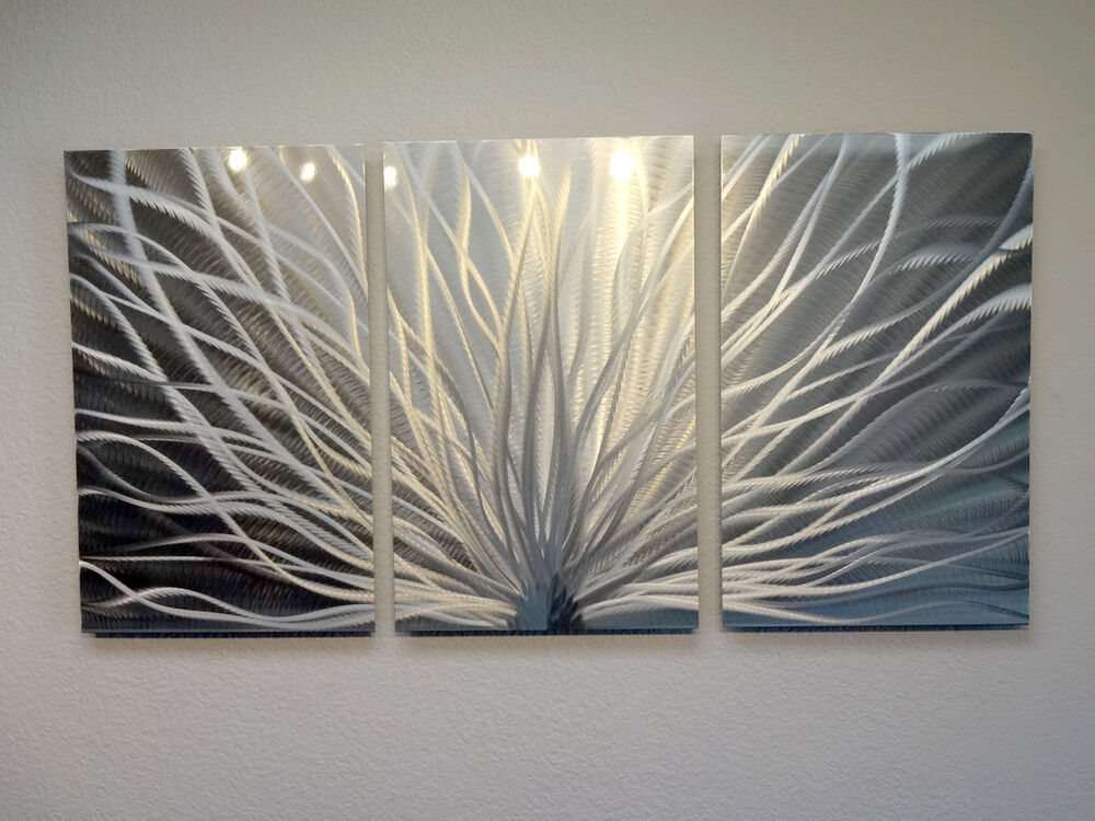 Abstract Metal Wall Art Contemporary Modern Decor Radiance 3 Panel EBay