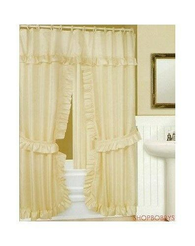 Double Swag Shower Curtain Liner And Rings Beige Ebay