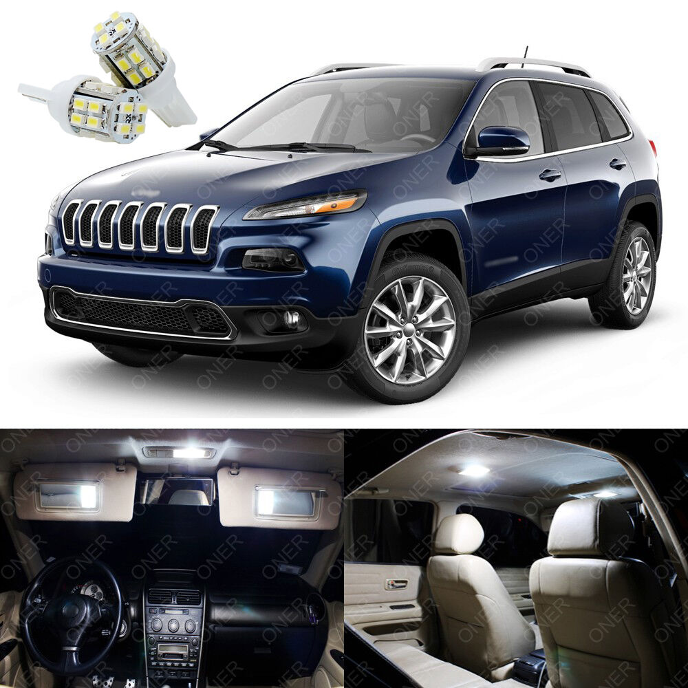 13 X Xenon White Led Interior Lights Package Deal For Jeep Cherokee 2014 2016 Ebay
