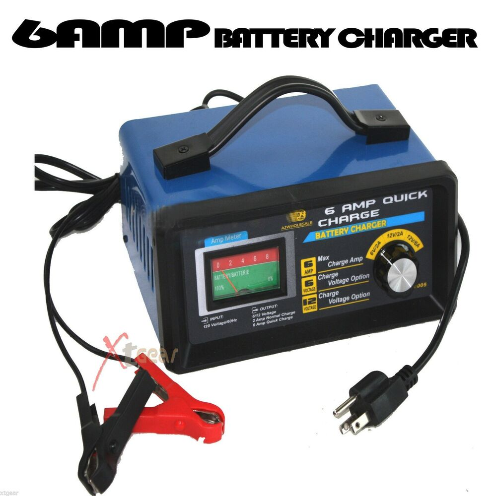 Trickle Charger For Car >> NEW 120V/60hz 6AMP MAX Quick Battery Charger 12V 6V 6AMP 2AMP RV AUTO Boat ATV | eBay