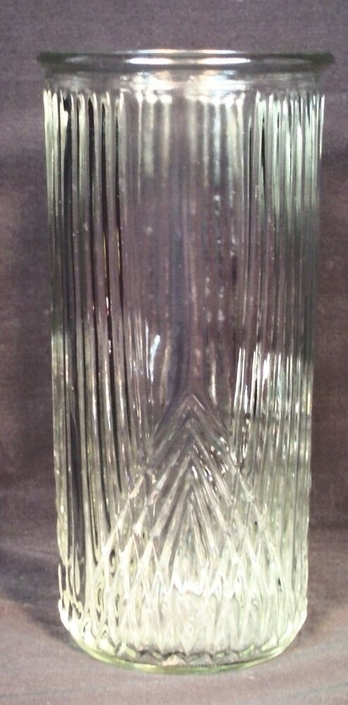 Vtg Hoosier Vase 4101 Tall Clear Ribbed Pressed Glass Decorative Unique Rare Ebay