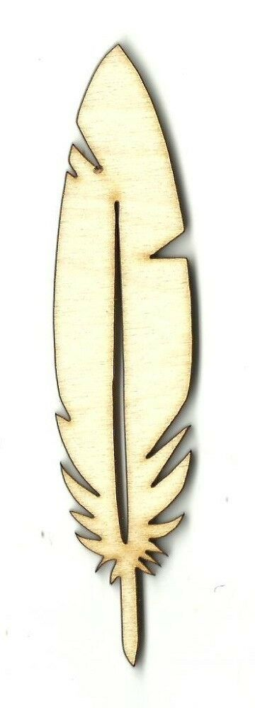 Feather unfinished wood shape craft laser cutouts cut out for Where to buy craft feathers