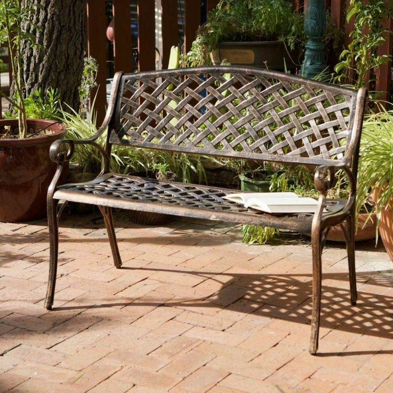 Outdoor patio furniture cast aluminum garden bench in for Outdoor furniture vintage