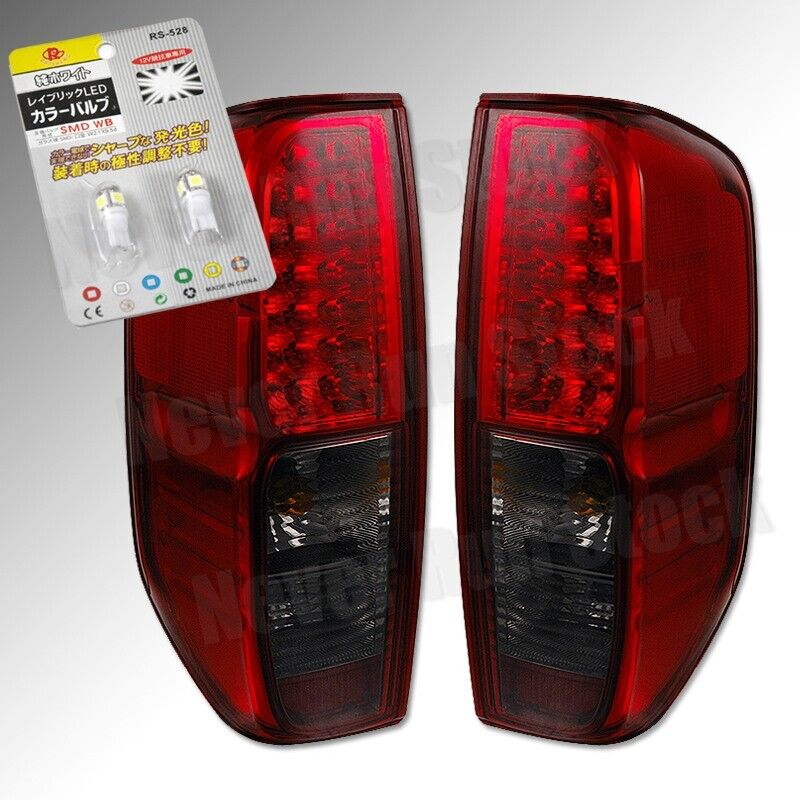 For Nissan Frontier Red Smoke Lens Led Tail Lights White