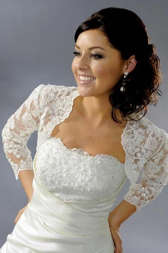 2015 bridal wedding lace bolero lace jacket wedding dress for Wedding dress lace bolero
