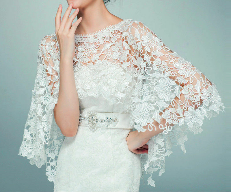 2015 wedding new top lace tulle bridal shawl wrap stole for Lace shrugs for wedding dresses