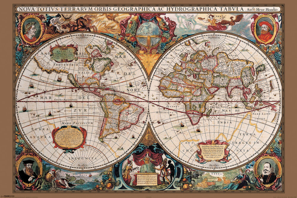 17th century old world map home decor canvas print choose