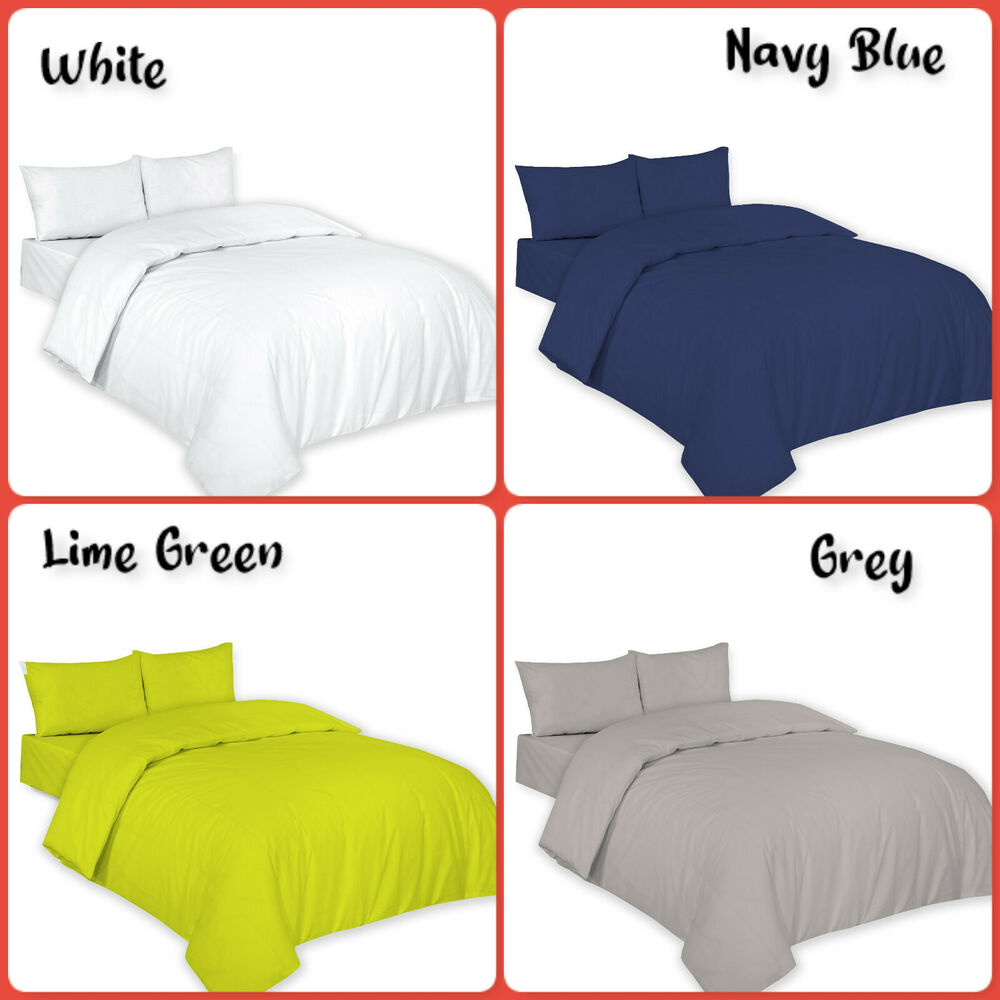 Plain Dyed Duvet Quilt Cover With Pillowcases Bedding Set