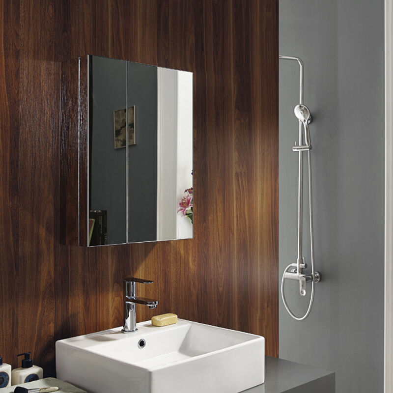 New Stainless Steel Wall Mounted Bathroom Storage Cabinet Mirror Double Door Ebay