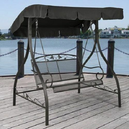 Outdoor Furniture Wrought Iron Patio Swing Canopy Porch