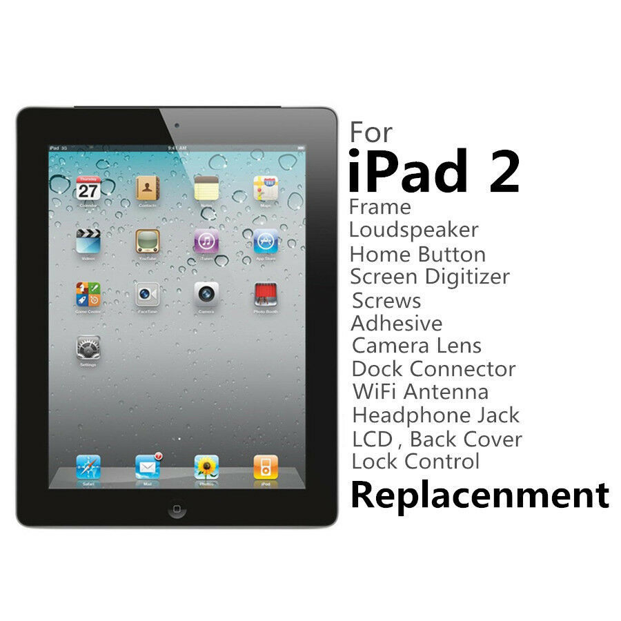For iPad 2 Repair Parts LCD,Screen,Home Button,Frame,Speaker,Flex ...