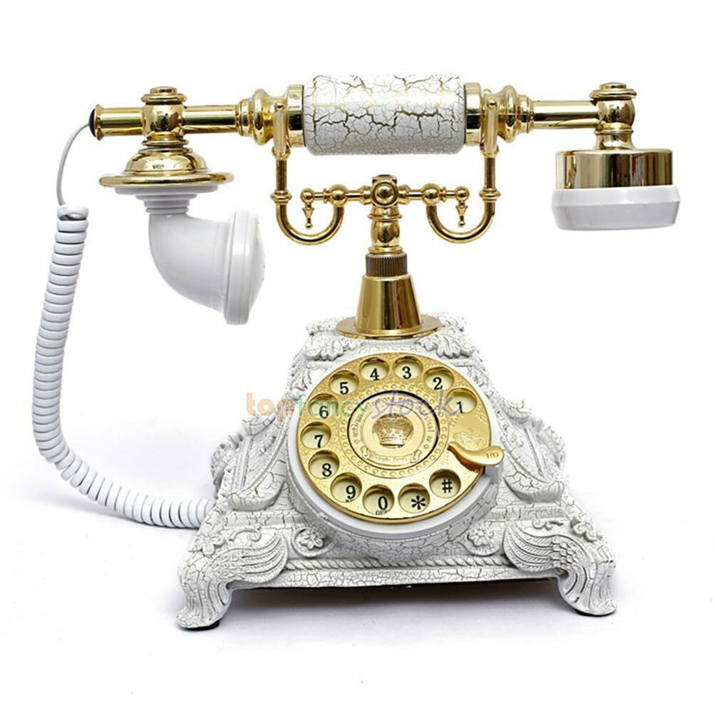 White Vintage Retro Antique Style Desk Phone Corded Rotary