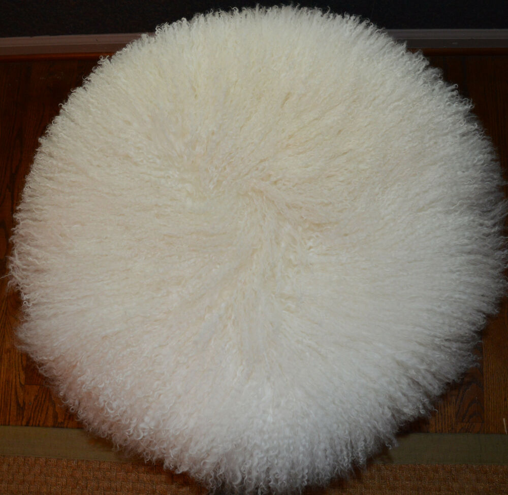 Round Mongolian Lamb Fur Pillow Natural White 18 Tibetan