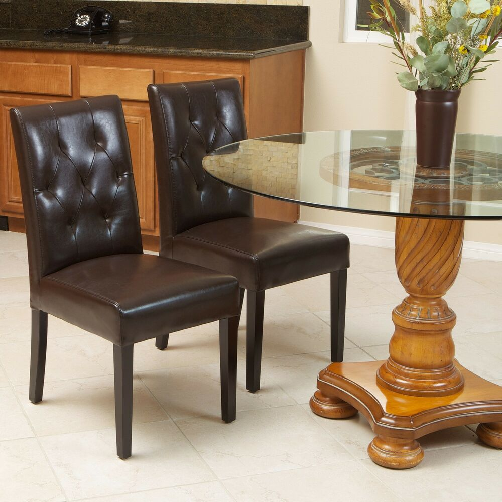 Set of 2 elegant brown leather dining room chairs with for Tufted leather dining room chairs