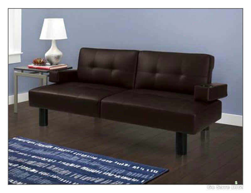 Modern futon sofa bed mainstays faux leather armrests for Leather futon mattress cover