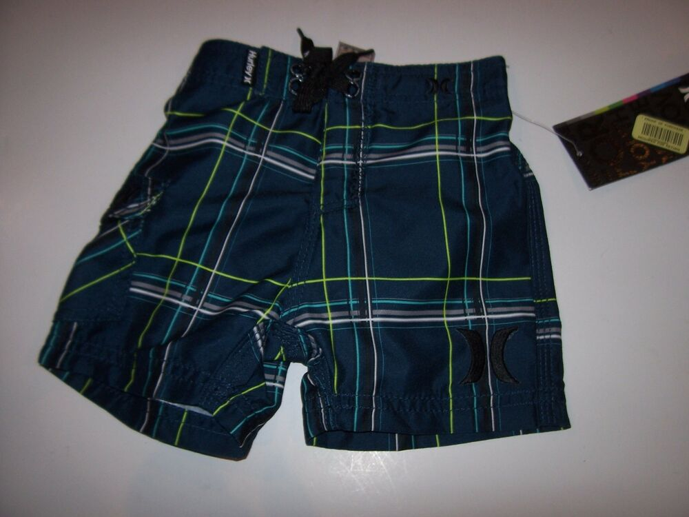 NEW Hurley blue plaid board shorts baby boys swim trunks