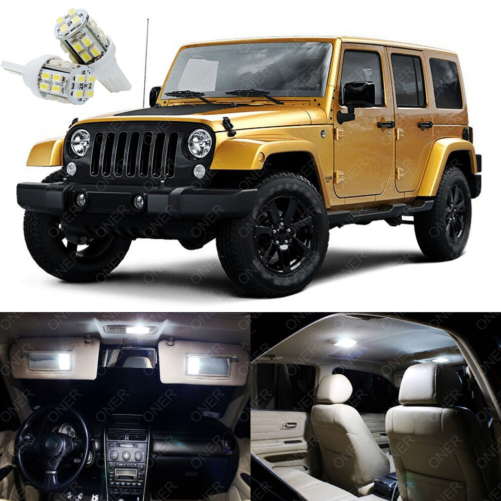 7 x xenon white led interior lights package deal for jeep for Interior wrangler yj