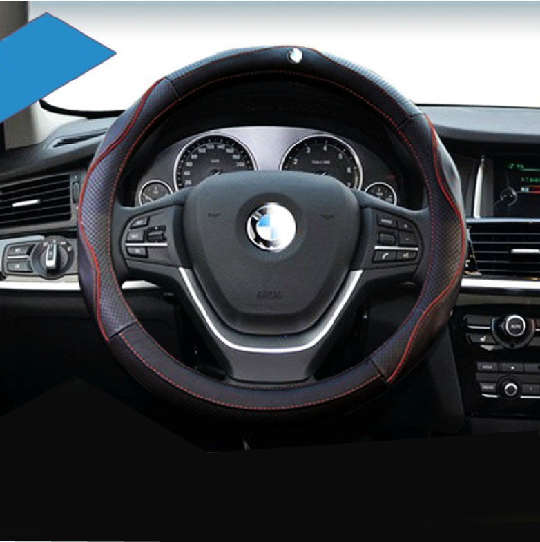 Car Genuine Leather Steering Wheel Cover Fit Bmw X5 X6 X3 Sporty Red Blue Trim Ebay