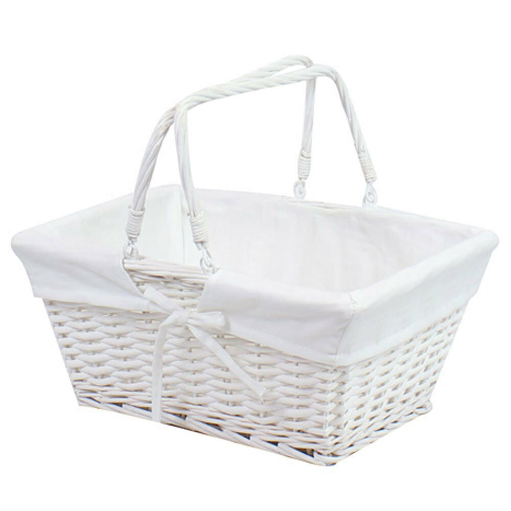 shopping basket storage handle white traditional vintage wicker weave box new ebay. Black Bedroom Furniture Sets. Home Design Ideas