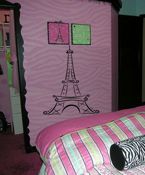 eiffel tower bedroom decor big eiffel tower kid room wall decal decor ebay 15213