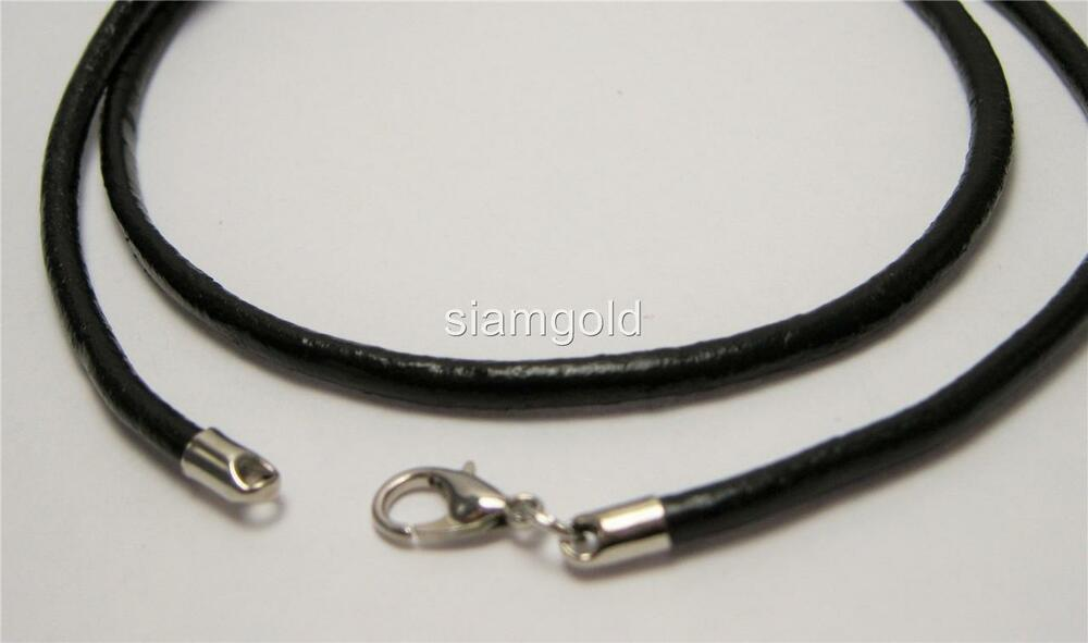 Men 3mm Genuine Leather Cord Necklace with Lobster Clasp 22 inches   eBay