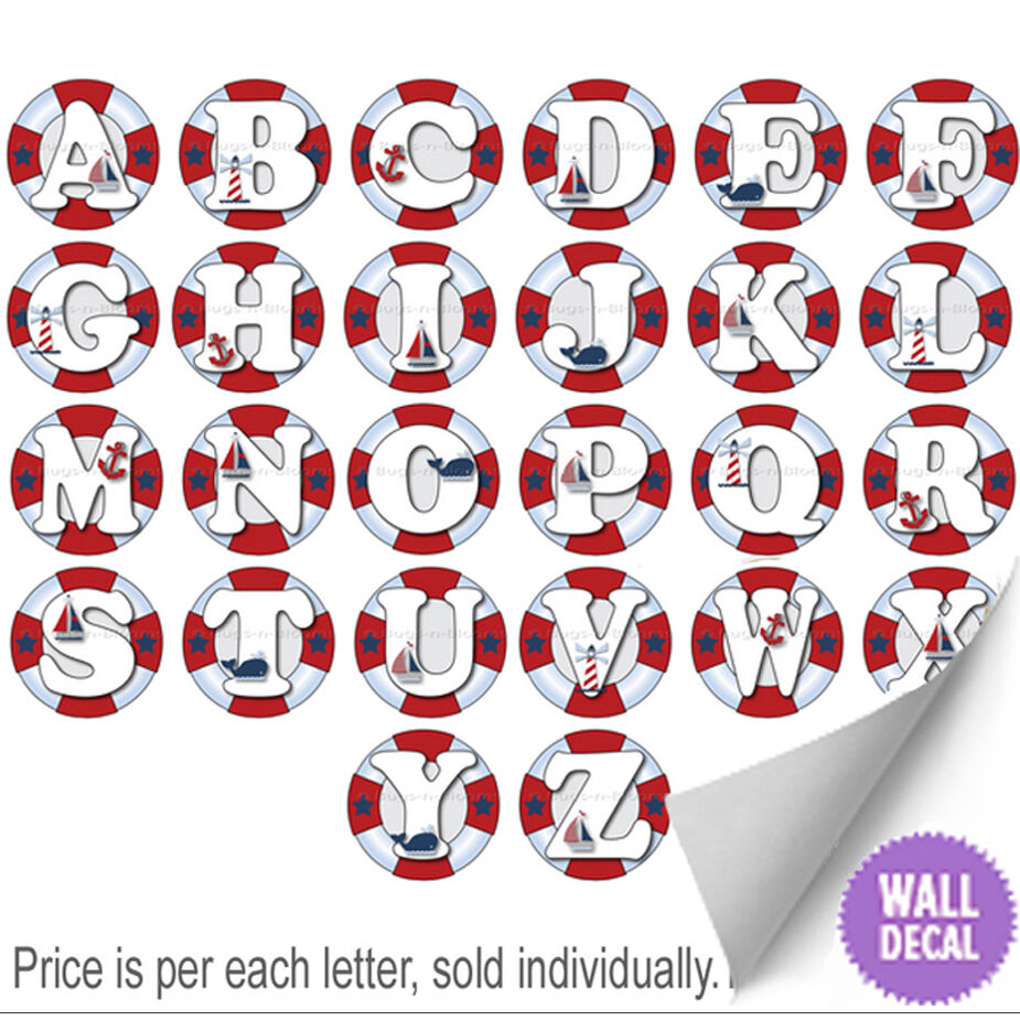 Wall Decor Decals Letters : Name wall letters alphabet stickers initial decals boys