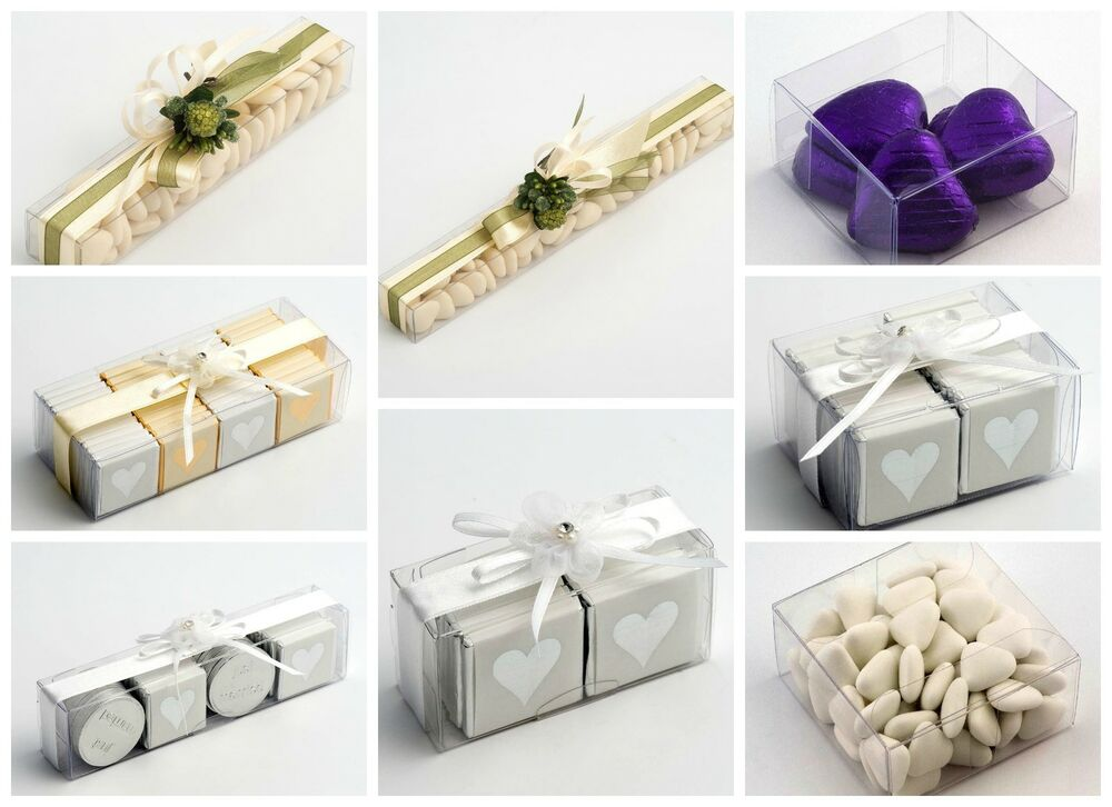 Wedding Gift Boxes Ebay : Luxury DIY Wedding Favour Gift Boxes Transparent PVC Clear Rectangular ...