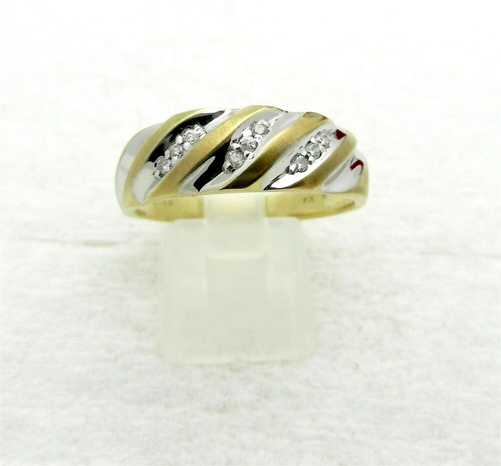solid 10k white yellow gold diamonds ring wedding band