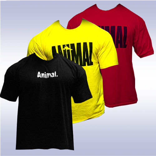 Universal nutrition iconic animal t shirt yellow red for Animal tee shirts online