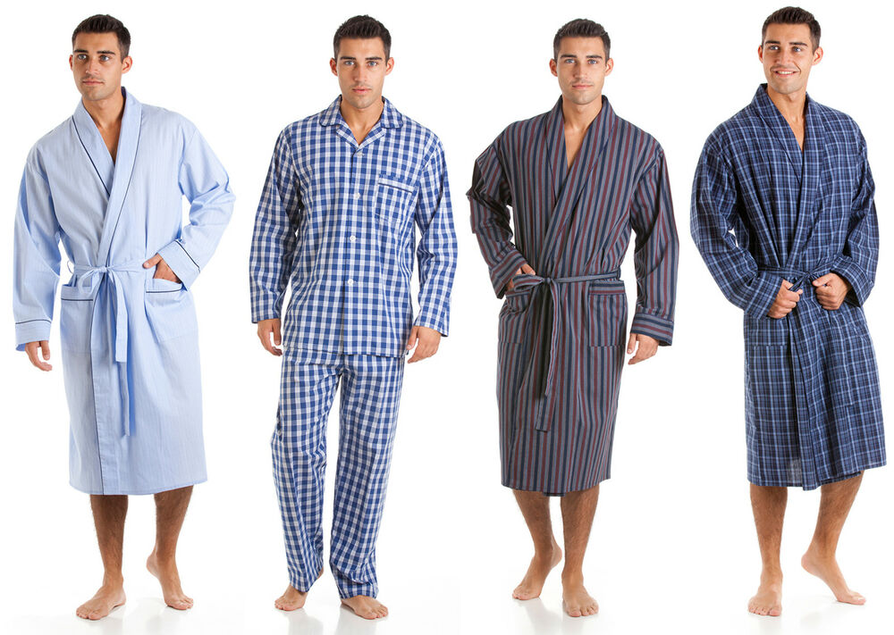 Mens Pure 100 Cotton Dressing Gown Bathrobe Robe Lounge