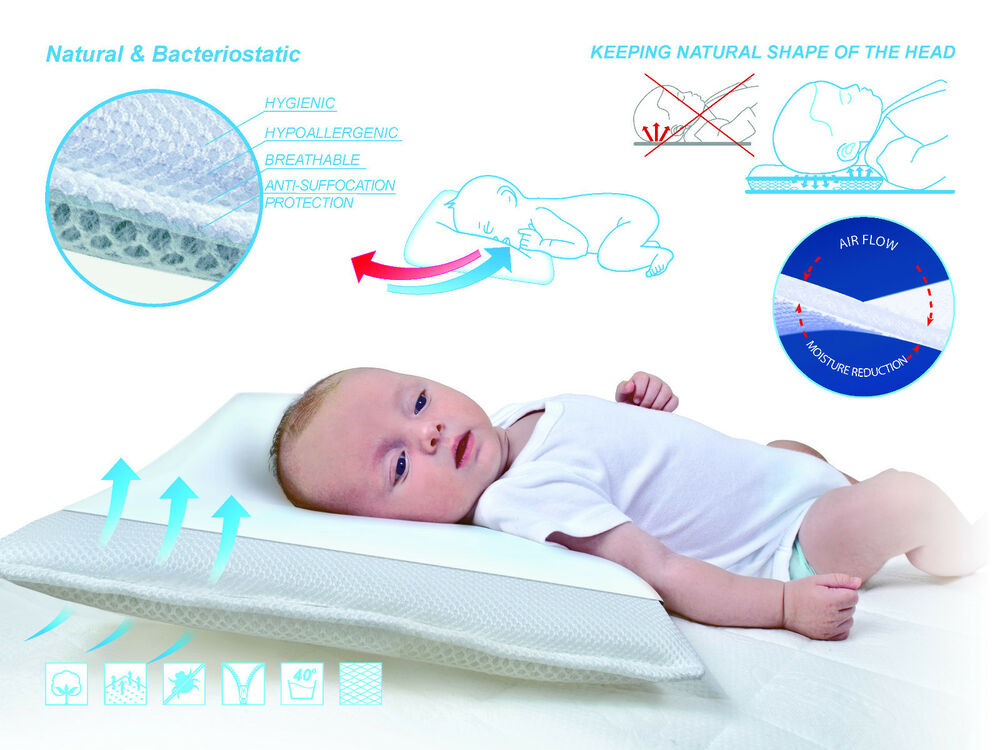 Baby White Infant Support Cot Pillow Prevents Flat Head