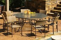TORTUGA OUTDOOR MARACAY 9 PC DINING SET w. 8 CHAIRS AND EXTRA LARGE TABLE DVTO