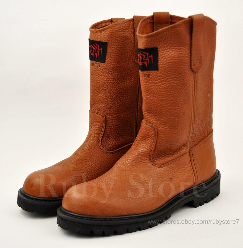 s brown steel toe work boots shoes genuine