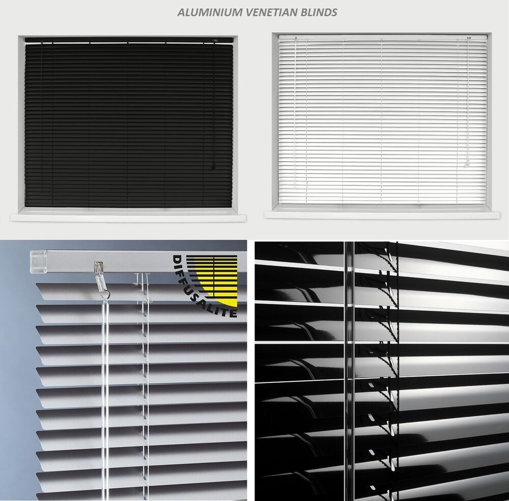Aluminium Metal Venetian Blinds Trimable Easy Fit 25mm