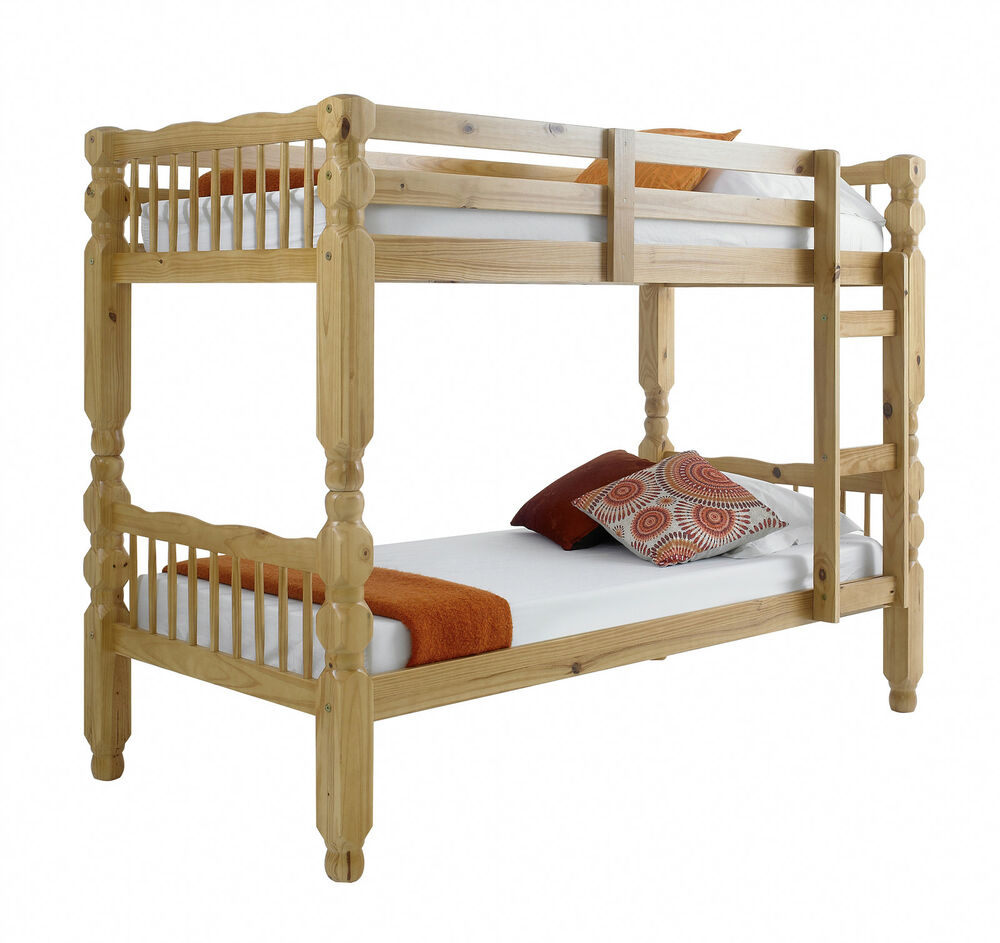 Chunky pine solid bunk bed in antique pine with 2 for Unfinished loft bed