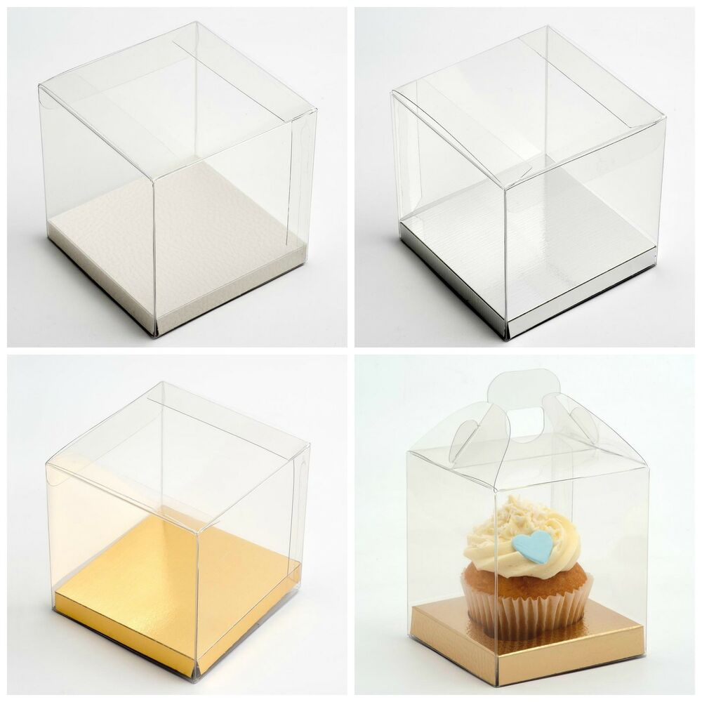 Transparent PVC Cube Cup Cake Wedding Favour Gift Boxes with Platform ...