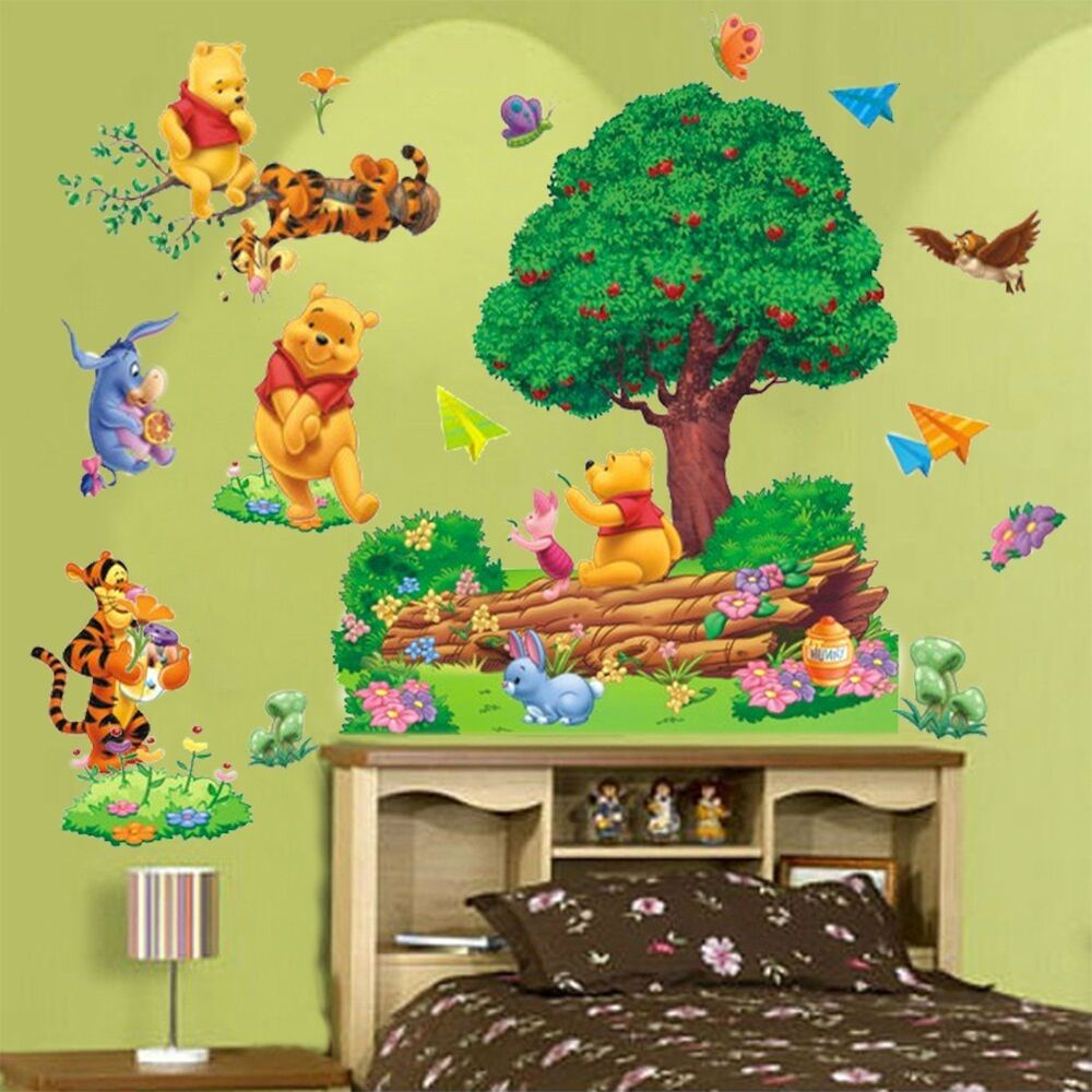 removable winnie the pooh wall sticker vinyl decals nursery baby room decor wn ebay. Black Bedroom Furniture Sets. Home Design Ideas
