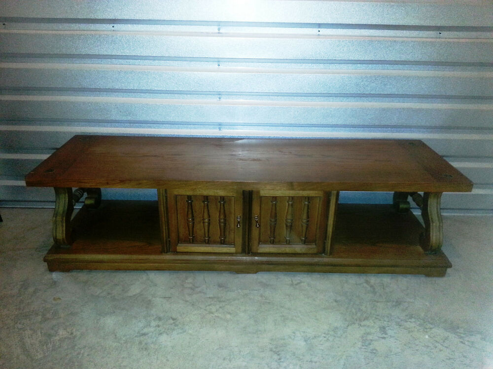 Long vintage coffee table with built in storage for Long coffee table with storage