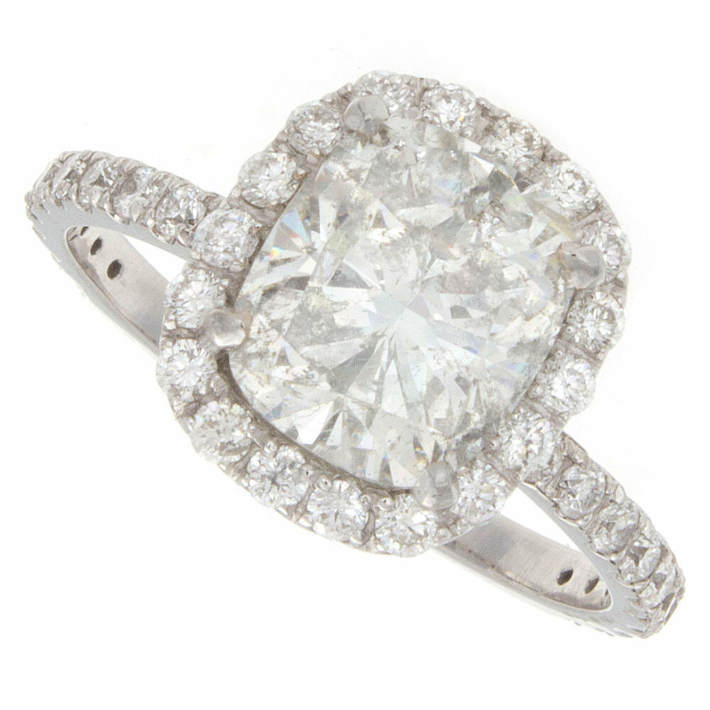Cushion Channel Set Halo Engagement Rings