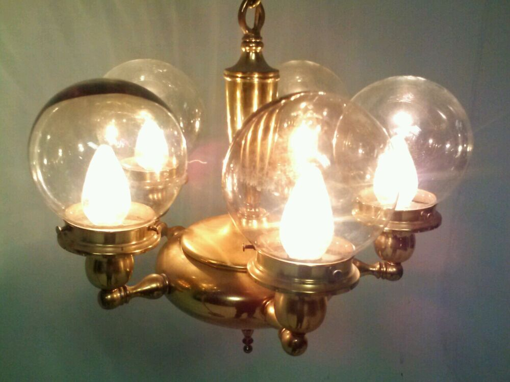 Vintage Retro Deco Light Glass Hanging Fixture Brass