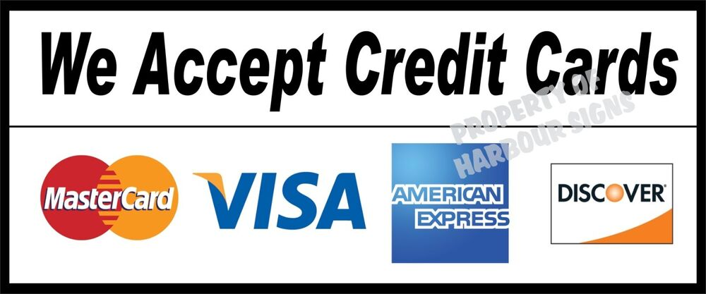 We accept credit cards decal 12quot concession food truck for Credit card acceptance for small business