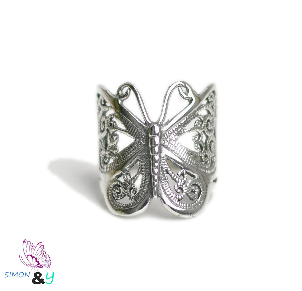 Vintage 925 Sterling Silver Large Filigree Butterfly Ring