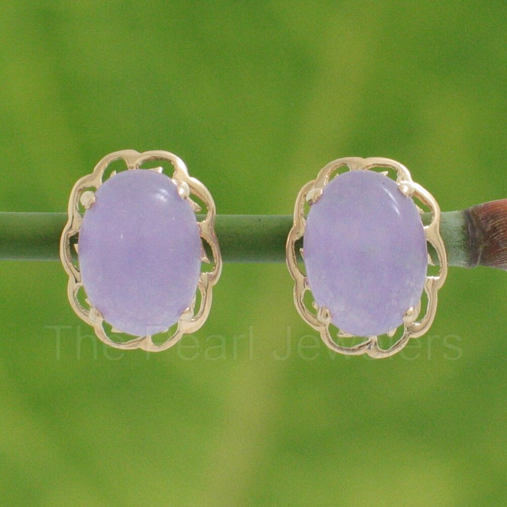 14k Solid Yellow Gold 6x8mm Cabochon Oval Lavender Jade ...